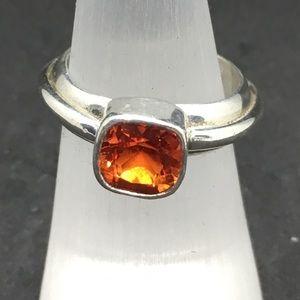Padparadsha orange quartz and silver ring